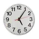 Klocka eller abstrakt bakgrund för tid vit klocka med rött och blac Arkivbild