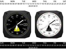 Klocka för flygplancockpitinstrument royaltyfri illustrationer