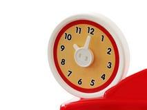 Klocka för leksak för runda för nolla-`-klocka som isoleras på vit bakgrund med kopieringsutrymme Royaltyfri Fotografi