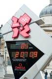 Klocka för London OSnedräkning arkivbilder
