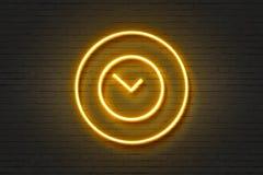 Klocka för vägg för symbol för neonljus Arkivbild