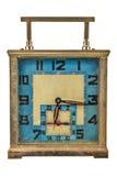 Klocka för tappningart décotabell som isoleras på vit Royaltyfri Fotografi