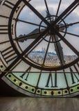 Klocka i det Orsay museet, Paris Arkivbild