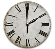 klocka isolerad gammal white Arkivbilder