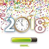 Klocka 2018 ladda Silvester Confetti Ribbons stock illustrationer