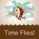 Klocka med att flyga för vingar royaltyfri illustrationer
