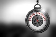 Klocka med Cybersäkerhetstext på framsidan illustration 3d Arkivfoton