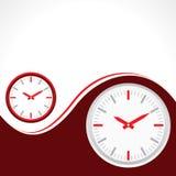 Klocka med röd bakgrund Royaltyfri Fotografi