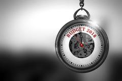 Klocka med röd text för budget 2018 på den framsida illustration 3d royaltyfri illustrationer