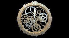 Klocka med roterande kugghjul och pilar arkivfilmer
