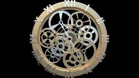 Klocka med roterande kugghjul och pilar stock illustrationer