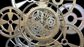 Klocka med roterande kugghjul och pilar vektor illustrationer