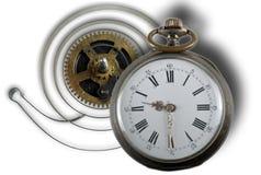 Klocka och jämviktshjul på vit bakgrund Arkivfoton