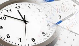 Klocka och kalendrar fotografering för bildbyråer