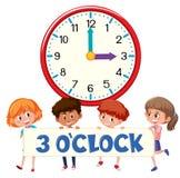 `-klocka och studenter för nolla 3 royaltyfri illustrationer