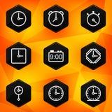 Klocka och Tid. Sexhörnig symbolsuppsättning Arkivbilder