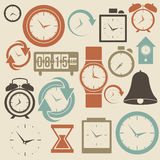 Klocka- och tidsymboler Fotografering för Bildbyråer