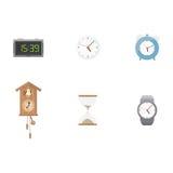 Klocka och tidsymbolsuppsättning Arkivfoto