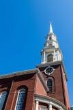 Klocka på gammal Boston kyrkakyrktorn Fotografering för Bildbyråer
