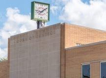 Klocka på Whitman County Courthouse i Colfax, Washington Arkivbilder