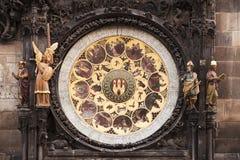 klocka prague för astronomical kalender Arkivbild