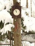 Klocka som dekoreras med julleksaker i vinterskogen på en gran som täckas med snö royaltyfri foto