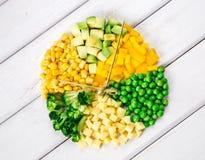 Klocka som göras från gräsplan- och gulinggrönsaker på en vit bakgrund Royaltyfria Bilder