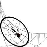 Klocka, spiderweb och spindel Royaltyfri Bild