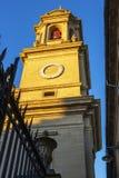 Klocka torn av den Pamplona domkyrkan, i Navarre, Spanien, arkitektonisk detalj royaltyfria bilder