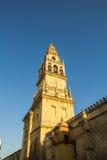 Klocka torn av domkyrka-moskén av Cordoba, Andalusia, Spanien Royaltyfri Bild