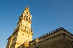 Klocka torn av domkyrka-moskén av Cordoba, Andalusia, Spanien Arkivfoton