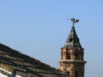 Klocka torn av kyrkan av Antequera i Spanien fotografering för bildbyråer