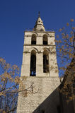 Klocka torn av kyrkliga Aigues-Mortes Royaltyfria Foton
