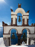 Klocka torn av Oia Royaltyfri Fotografi