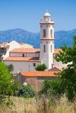 Klocka torn av Piana, södra Korsika, Frankrike Arkivbilder