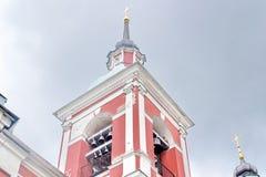 Klocka torn av St Panteleimon Church royaltyfria foton