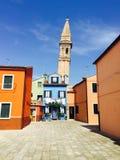 Klocka torn i Burano-Venedig Royaltyfria Foton