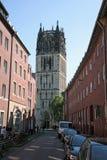 Klocka torn i den gamla staden av Munster Royaltyfri Foto
