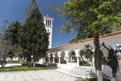 Klocka torn Katholiki Ekklisia Maria Kremasti Rhodes Royaltyfria Bilder