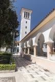 Klocka torn Katholiki Ekklisia Maria Kremasti Rhodes Fotografering för Bildbyråer