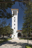 Klocka torn Katholiki Ekklisia Maria Kremasti Rhodes Arkivbilder