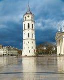 Klocka torn och basilika på domkyrkafyrkanten, Vilnius, Litauen royaltyfria foton
