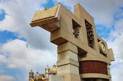 Klocka torn och klocka av basilikan av vår dam Guadalupe, Mexico - stad Arkivfoton