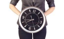 klockaholdingkvinna Royaltyfri Fotografi