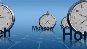 klockaillustrationen märker zoner för vektor för tid för ljust metallkontor reflekterande royaltyfri illustrationer