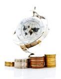 klockan coins globala model torn Arkivbilder