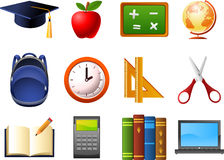 Klockan för ryggsäcken för jordklotet för utbildningsskolabeståndsdelar scissors räknemaskinbokanteckningsboken stock illustrationer