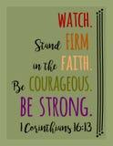Klockan fast tro som är modig, ÄR STARK stock illustrationer
