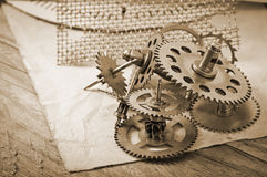 klockan gears mekaniskt fotografering för bildbyråer