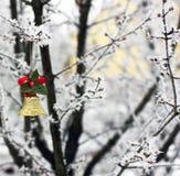 Klockan hänger på trädet nytt år arkivfoton